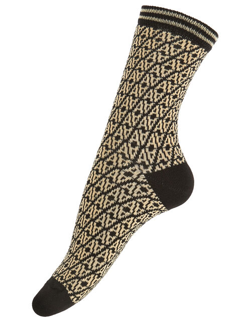 Monogram Ankle Socks, Black (BLACK), large