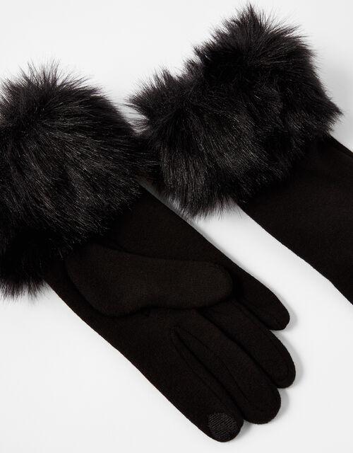 Faux Fur Cuff Touchscreen Gloves, Black (BLACK), large