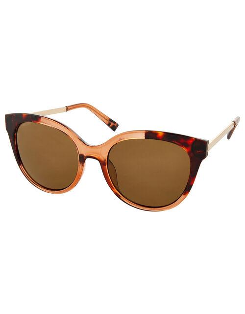 Two-Tone Wayfarer Tortoiseshell Sunglasses, , large