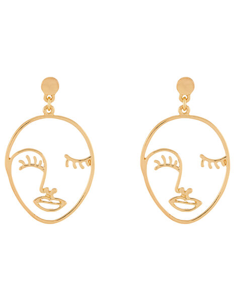 Gold Face Earrings, , large