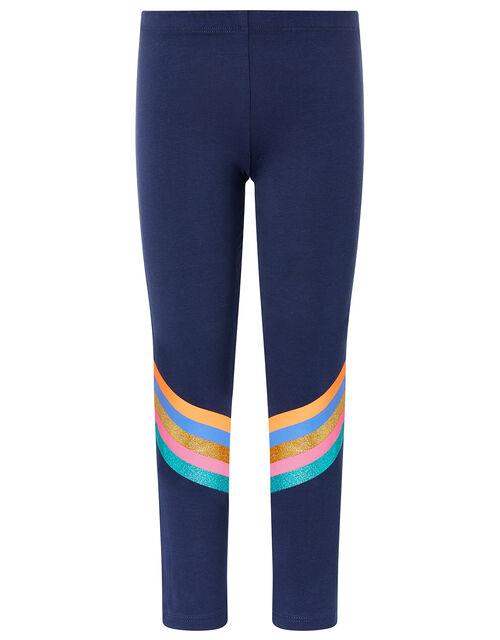 Glittery Stripe Leggings, Blue (NAVY), large