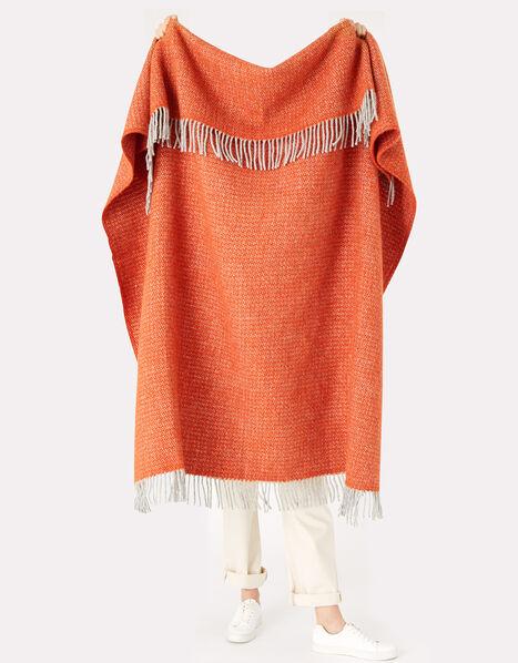 Tweedmill Tassel Throw in Pure Wool Orange, Orange (ORANGE), large