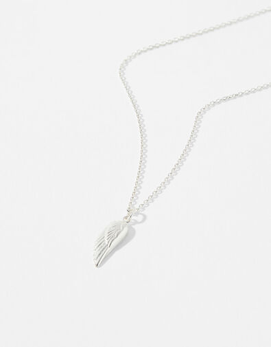 Sterling Silver Angel Wing Necklace, , large