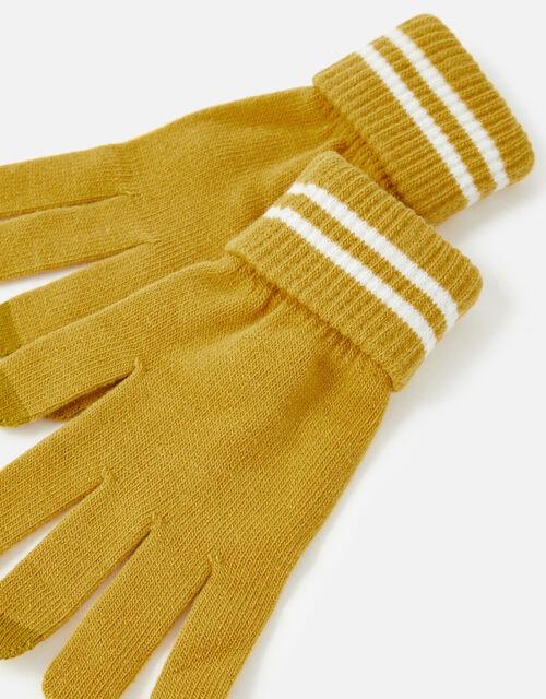 Varsity Stripe Touchscreen Gloves, Yellow (OCHRE), large