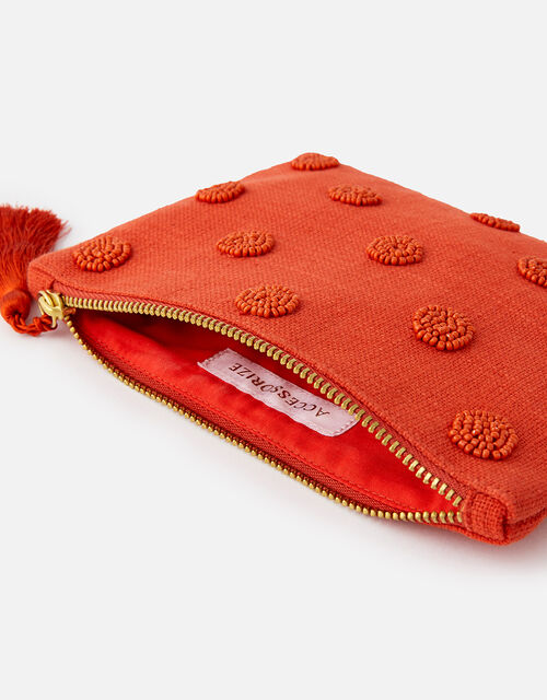 Beaded Polka Dot Pouch Bag, Orange (ORANGE), large