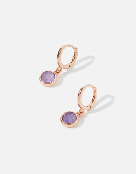 Rose Gold-Plated Amethyst Drop Hoops, , large
