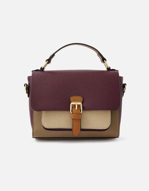Colourblock Satchel Cross-Body Bag, , large