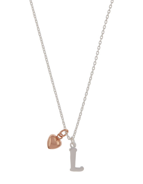 Sterling Silver Initial Necklace with Heart Charm - L, , large
