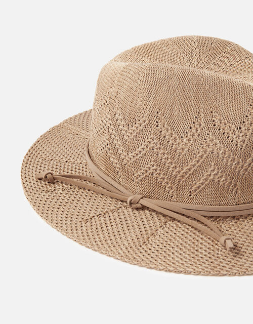 Chevron Packable Fedora Hat, Tan (TAN), large