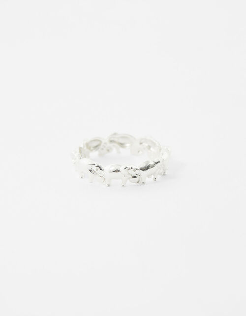 Sterling Silver Elephant Band Ring, Silver (ST SILVER), large