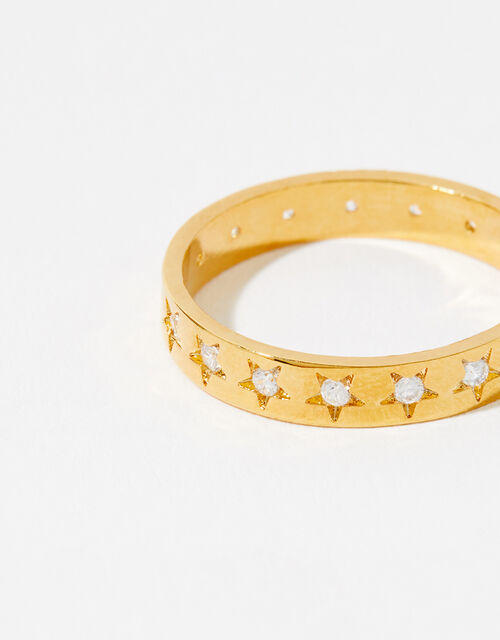 Gold-Plated Sparkle Star Band Ring, Gold (GOLD), large