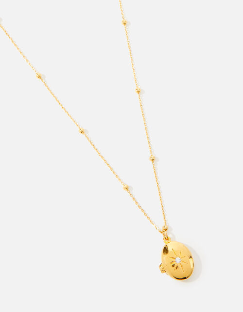 Gold-Plated Star Locket Pendant Necklace, , large