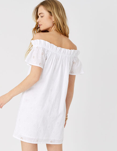 Shiffly Bardot Dress in Organic Cotton, White (WHITE), large