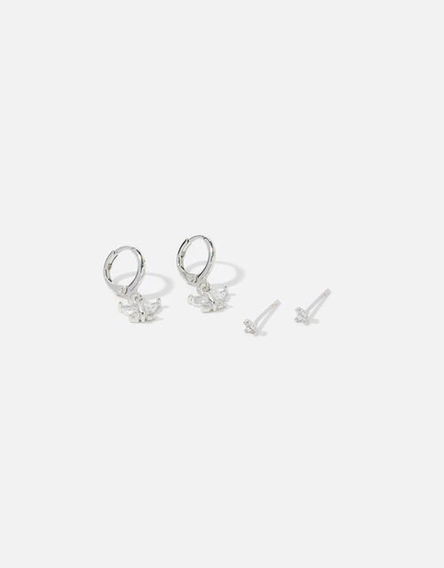 Platinum-Plated Butterfly Earring Set, , large