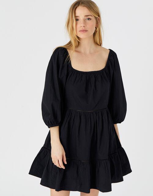 Puff Sleeve Dress in Organic Cotton, Black (BLACK), large