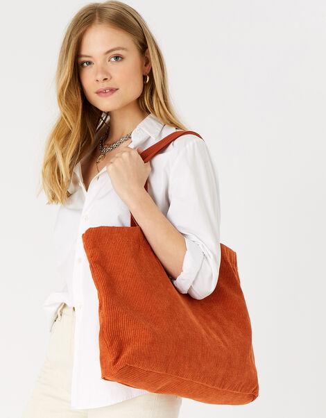 Cord Shopper Bag Orange, Orange (RUST), large