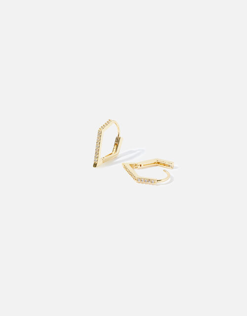 Gold-Plated Diamond Shape Hoops, , large