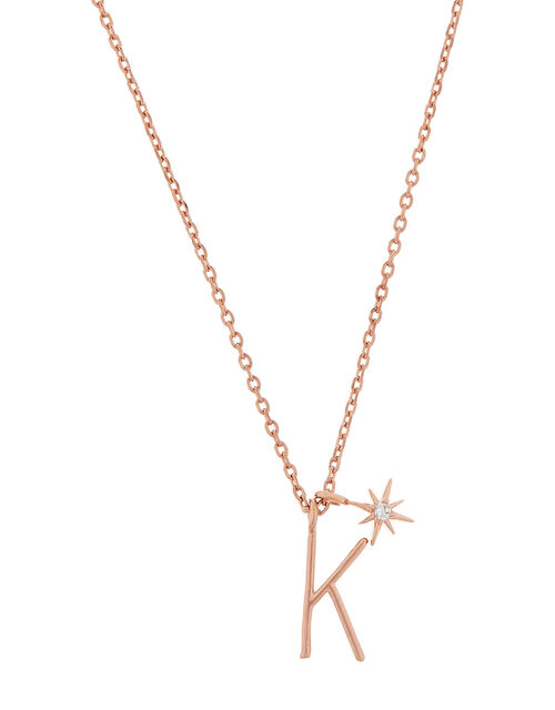 Rose Gold-Plated Initial Star Necklace - K, , large