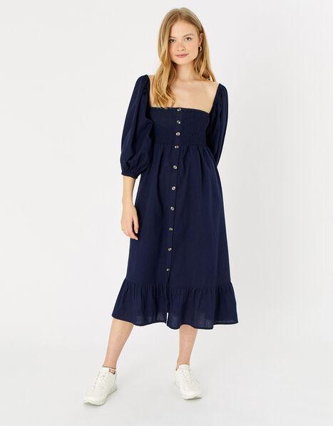 Bardot Maxi Dress in Linen Blend Blue, Blue (NAVY), large
