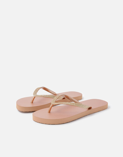 Glitter Flip Flops, Nude (NUDE), large