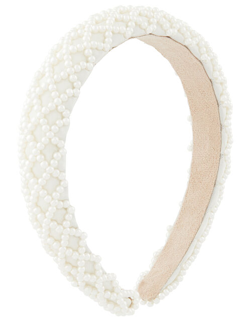 Padded Pearly Criss-Cross Headband, , large