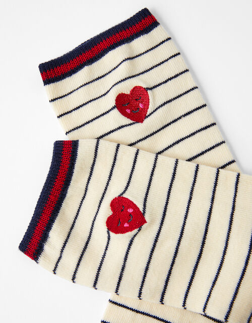 Heart and Stripe Ankle Socks, , large