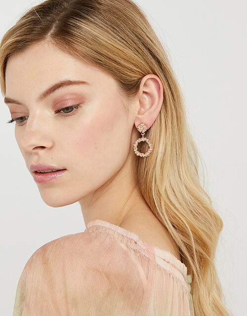 Textured Circle Doorknocker Earrings, Gold (ROSE GOLD), large