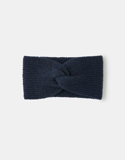 Knit Bando Headband, Blue (NAVY), large