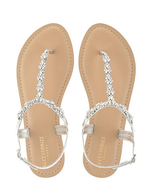 Reno Silver Embellished Sandals, Silver (SILVER), large