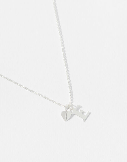 Sterling Silver Heart Initial Necklace - E, , large