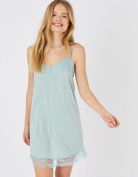 Lace Trim Slip Dress Green, Green (LIGHT GREEN), large