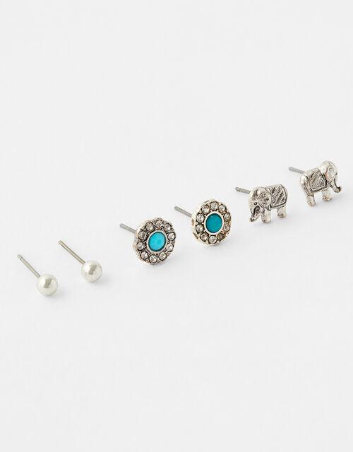 Turquoise and Elephant Stud Set, , large