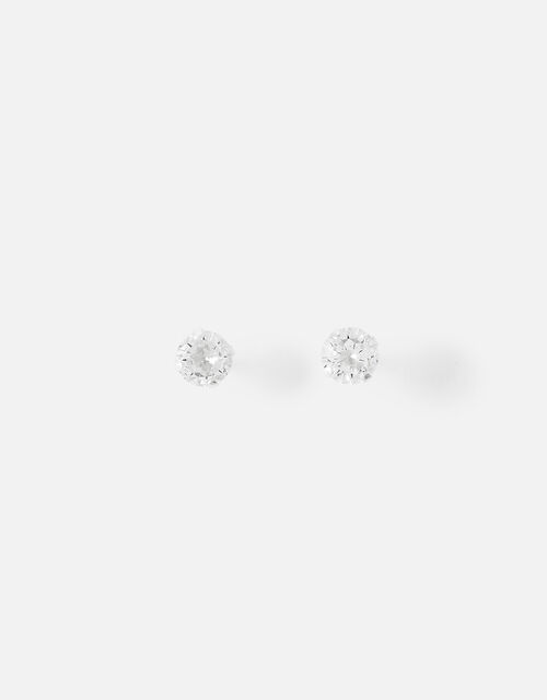 Sterling Silver Small Crystal Stud Earrings, , large