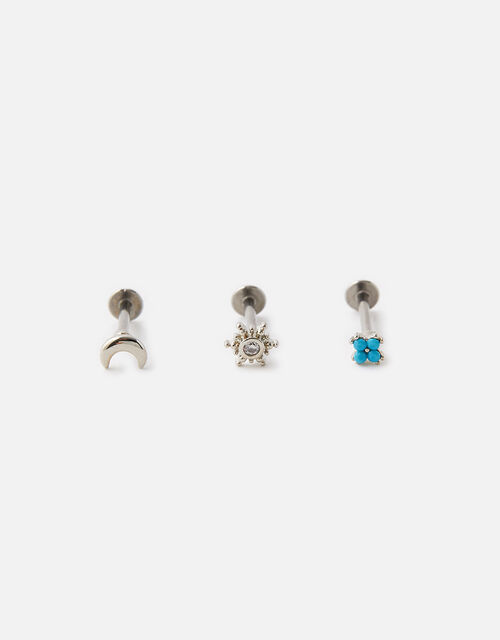 Turquoise, Moon and Sparkle Flat-Back Studs, , large