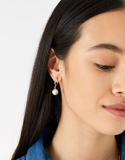 Island Vibes Gem and Pearl Hoops, , large