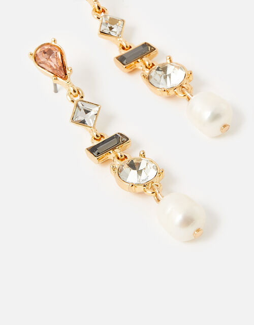 Eclectic Stone Pearl Drop Earrings, , large