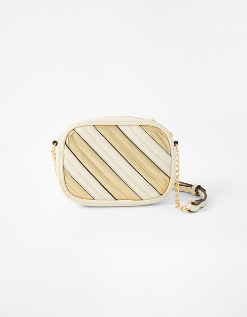 Stripe Cross-Body Camera Bag, Cream (CREAM), large