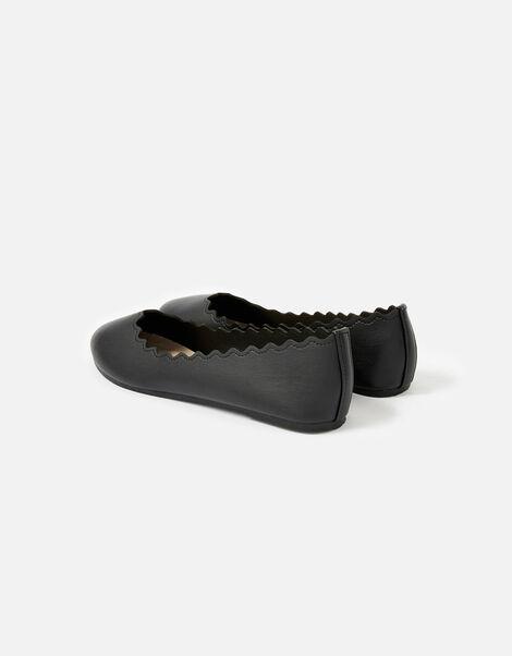 Scallop Ballerina Flats Black, Black (BLACK), large