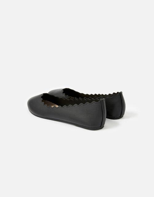 Scallop Ballerina Flats, Black (BLACK), large