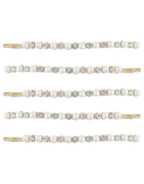 Pearl and Diamante Hair Slide Set, , large