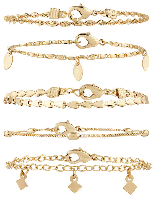 5x Delicate Chain Bracelet Pack, Gold (GOLD), large