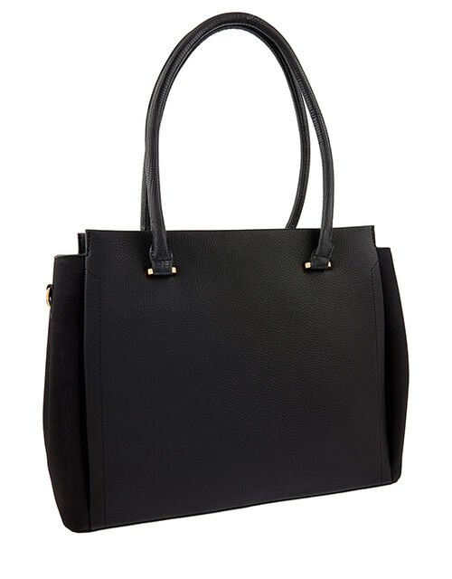 Morgan Vegan Work Tote Bag, Black (BLACK), large