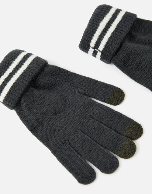 Varsity Stripe Touchscreen Gloves, Grey (CHARCOAL), large