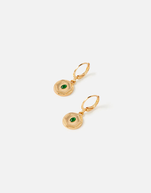 Reconnected Mini Coin Gem Hoops, , large