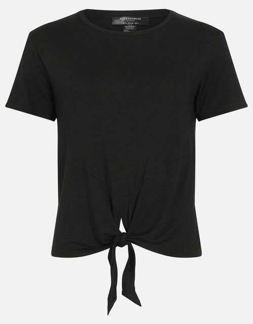 Knot Front Gym Top, Black (BLACK), large