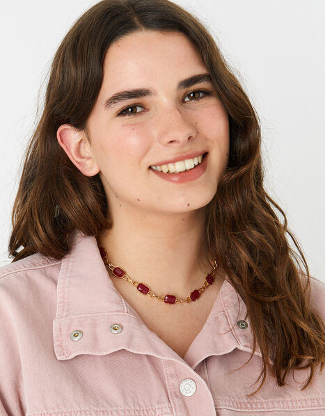 Berry Blush Stone Collar Necklace, , large