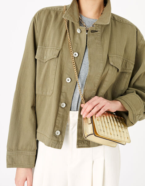 Studded Cross-Body Bag Metalic, Metalic (METALLICS), large