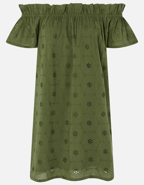 Schiffly Bardot Dress in Organic Cotton, Green (KHAKI), large