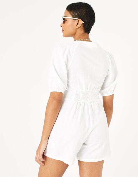 Puff Sleeve Playsuit in Pure Linen  Cream, Cream (CREAM), large