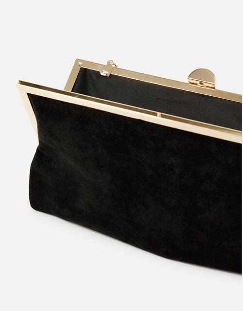 Suedette Clipframe Clutch Bag, Black (BLACK), large